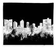 Fort Worth Skyline Watercolor Black And White 2 Fleece Blanket