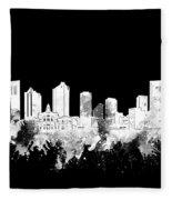 Fort Worth Skyline Watercolor Black And White 2 Fleece Blanket