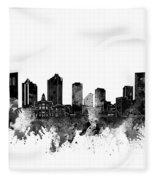 Fort Worth Skyline Watercolor Black And White Fleece Blanket