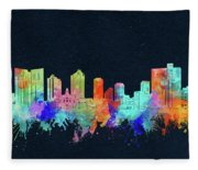 Fort Worth Skyline Watercolor Black Fleece Blanket