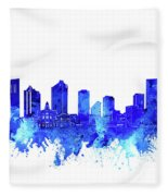 Fort Worth Skyline Watercolor Blue Fleece Blanket