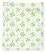 Four Leaf Clover Lucky Charm Pattern Fleece Blanket