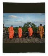 Four Monks And A Phone. Fleece Blanket
