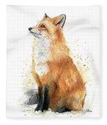 Fox Watercolor Fleece Blanket