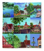 Frankenmuth Downtown Michigan Painting Collage II Fleece Blanket
