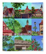 Frankenmuth Downtown Michigan Painting Collage V Fleece Blanket