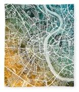 Frankfurt Germany City Map Fleece Blanket