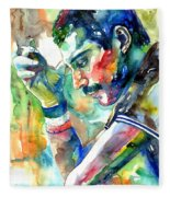 Freddie Mercury With Cigarette Fleece Blanket