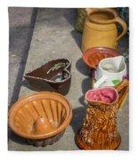 French Flea Market Pottery Fleece Blanket