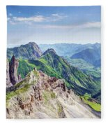 French Village In The Pyrenees Fleece Blanket