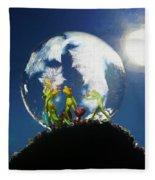 Frogs In A Bubble Fleece Blanket