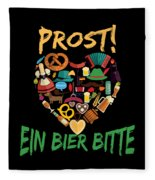Funny Oktoberfest Prost Ein Bier Bitte Germany Fleece Blanket