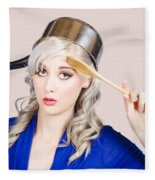 Funny Pin Up Housewife Saluting For Cooking Duties Fleece Blanket