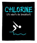 Funny Swimming Chlorine Its Whats For Breakfast Diving Fleece Blanket