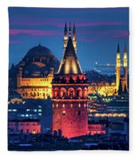 Galata Tower And Suleymaniye Mosque Fleece Blanket