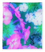 Garden Flowers In Pink, Green And Blue Fleece Blanket