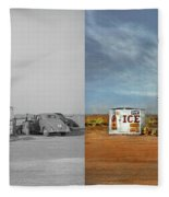 Gas Station - In The Middle Of Nowhere 1940 - Side By Side Fleece Blanket