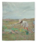 Gathering Flowers, Shinnecock, Long Island, 1897 Fleece Blanket