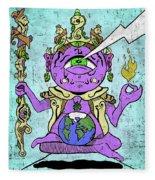 Gautama Buddha Colour Illustration Fleece Blanket