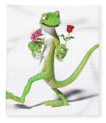 Gecko In Love Fleece Blanket