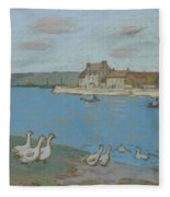 Geese By The River Loing 03 Fleece Blanket
