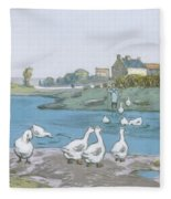 Geese By The River Loing 04 Fleece Blanket