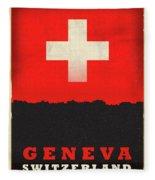 Geneva Switzerland World City Flag Skyline Fleece Blanket