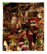 German Christmas Ornaments Fleece Blanket
