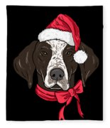 German Shorthair Xmas Hat Dog Lover Christmas Fleece Blanket