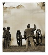 Gettysburg Battlefield - Confederate Artillerymen Firing Cannon Fleece Blanket