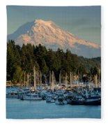 Gig Harbor Marina With Mount Rainier In The Background Fleece Blanket