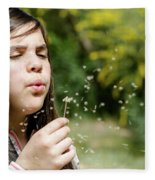 Girl Blowing Dandelion Flower Fleece Blanket