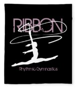 Girl Competing In Female Rhythmic Gymnastics Jumping With A Ribbon Fleece Blanket