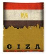 Giza Egypt World City Flag Skyline Fleece Blanket
