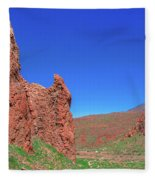 Glowing Red Rocks In The Teide National Park Fleece Blanket