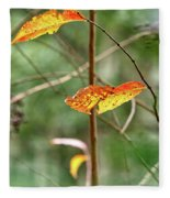 Gold Leaves And Branches Fleece Blanket