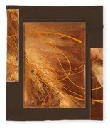 Wings Of Gold Brown Bckgrnd Fleece Blanket