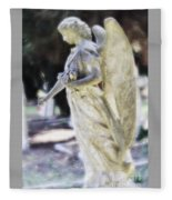 Golden Angel With Pink Rose Fleece Blanket