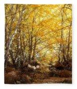 Golden Autumn Light Fleece Blanket
