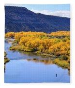 Golden Autumn Trees San Juan River Landscape Fleece Blanket