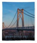 Golden Hour At Mid-hudson Bridge Fleece Blanket