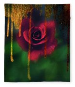 Golden Moments Of A Garden Rose Fleece Blanket