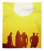 Golden Surf Silhouettes Fleece Blanket
