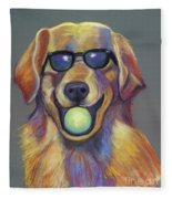 Golden With Ball Fleece Blanket