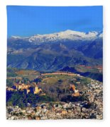 Granada, The Alhambra And Sierra Nevada From The Air Fleece Blanket