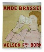 Grande Brasserie, 1894 Belgian Vintage Brewery Poster Fleece Blanket