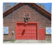 Grantham Barn With Quilt Squares Fleece Blanket