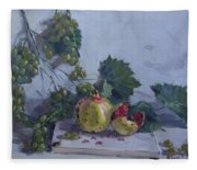 Grapes And Pomegranates Fleece Blanket