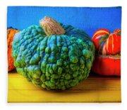 Graphic Autumn Pumpkins And Gourds Fleece Blanket