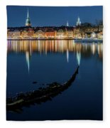 Gray Wolf Shipwreck And Stockholm Gamla Stan Fantastic Reflection In The Baltic Sea  Fleece Blanket